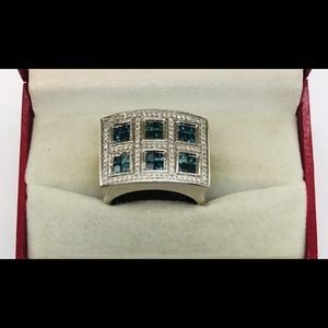 Gents Blue and White Diamond Ring